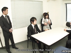 Japanese office girl is blowing a cock of a horny interviewer