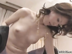 Gal in stockings and high boots gets fucked by 2