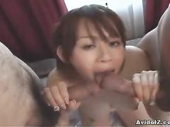 Filthy Asian babe tits fuck and hard oral job