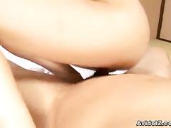 Man fucks Japanese and pinches her hard nipples