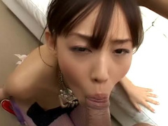 Asian with trimmed pussy horny blowjob