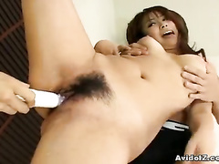 Two guys fucking hot Japanese with dildo