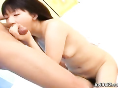 Sexy Japanese licks cock from every possible side