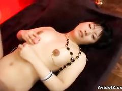 Girl in sexy fishnet stockings enjoys deep nub fuck