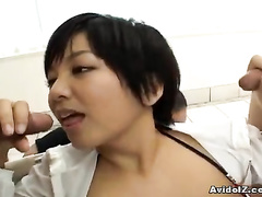 Boys play with girl's boobs and feed her with rods