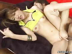 Girl in yellow top gets cock sticking out of pussy