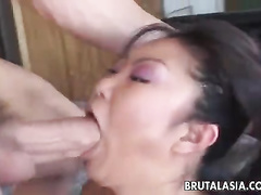 Fat rod taken in mouth, pussy and ass deeply