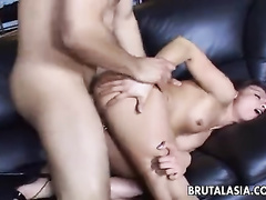 Girl with shaved Asian pussy gets fucked anally