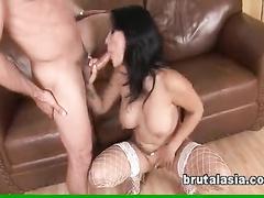 Bosomy girl in white fishnets merciless fucking