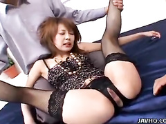 Men fucking Asian babe and feeding her with cum