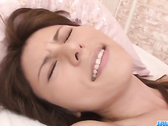 Dude bringing Asian hairy pussy to strong orgasm