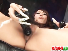 Hot Japanese sticking toy into the moist vagina