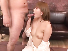 Asian beauty doing blowjob and pleasing 2 cocks