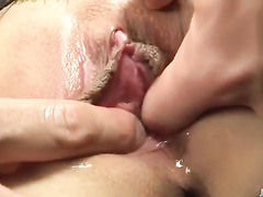 Exploring Asian pussy through the huge hole