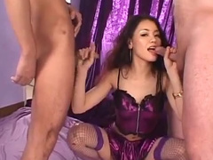 Man shooting cum into the tight Asian pussy hole
