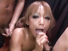 Girl with hot Asian body probed from both sides
