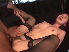 Black lingerie girl fulfils sex desires of two