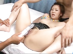 Asian milf takes dick in mouth and toy into cunt