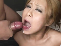 Sexy chick strokes and sucks many hard members