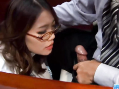 Man feeds his Japanese colleague with the member