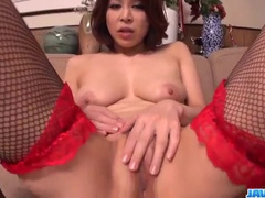Gal in sexy stockings gets anal on fingers and rod