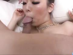 Japanese girl enjoys big dick inside hairy pussy