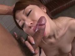 Smooth and tender skinned Asian brunette enjoys passionate fuck