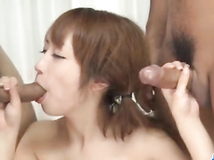 Asian fucker friends are bending and fondling one sweet chick