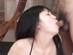 Hot Japanese babe gets excited with sex toys before sucking dick