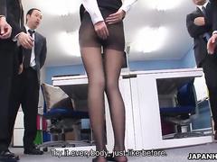 Ultra slender Japanese secretary fucked by her boss
