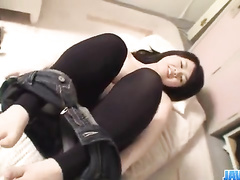 Busty young Japanese sweetie is playing with vibrator