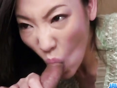 Wonderful tender Asian brunette hotly excites scrawny guy