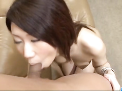 Round tight boobed Asian chick loves to suck dick