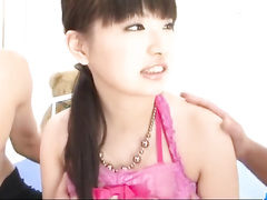 Cutie Japanese babe gets pleasantly fucked by two boyfriends