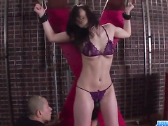 Asian babe gets tied up and hotly masturbated by her fucker friend