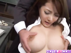 Big and sexy boobed Asian chick enjoys getting fucked at the office