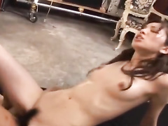 Hungry oriental dude tastily licks girlfriend's hairy cunt