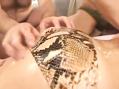 Naughty Japanese fuckers are making young chick to squirt
