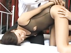 Young Japanese chick in sexy bodysuit gets fucked by two guys