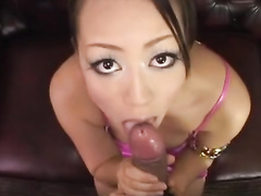 Lustful Asian beauty does exciting blowjob