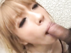 Exciting young blonde Asian babe pleasures hotly masturbating pussy