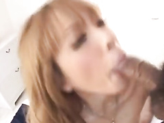 Cutie blonde Asian chick enjoys fucking with two guys