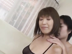 Girl in exciting hot black peignoir is fucking with two guys