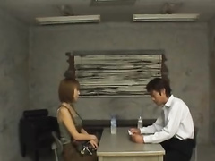 Brown haired Japanese chick undresses in front of handsome guy