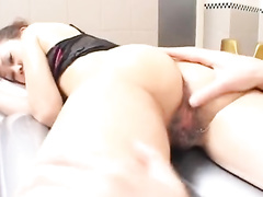Japanese couple hotly fondles and passionately fucks in bathroom
