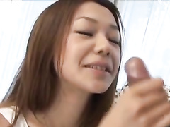 Japanese chick sexily eats banana before sucking boyfriend's dick