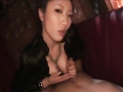 Japanese chick loves to deepthroat hairy dick