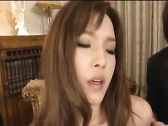 Horny young Japanese chick get satisfied by two fuckers