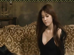 Steaming hot Asian chick sexily undresses and tightly blowjobs dick