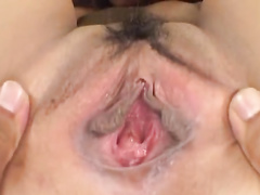 Japanese chick is having her pussy stretched by fucker